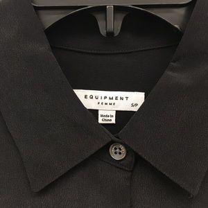 e2f3ed239db689 Equipment Tops - EQUIPMENT Coco Silk Shirt BLACK Bell Sleeve Blouse